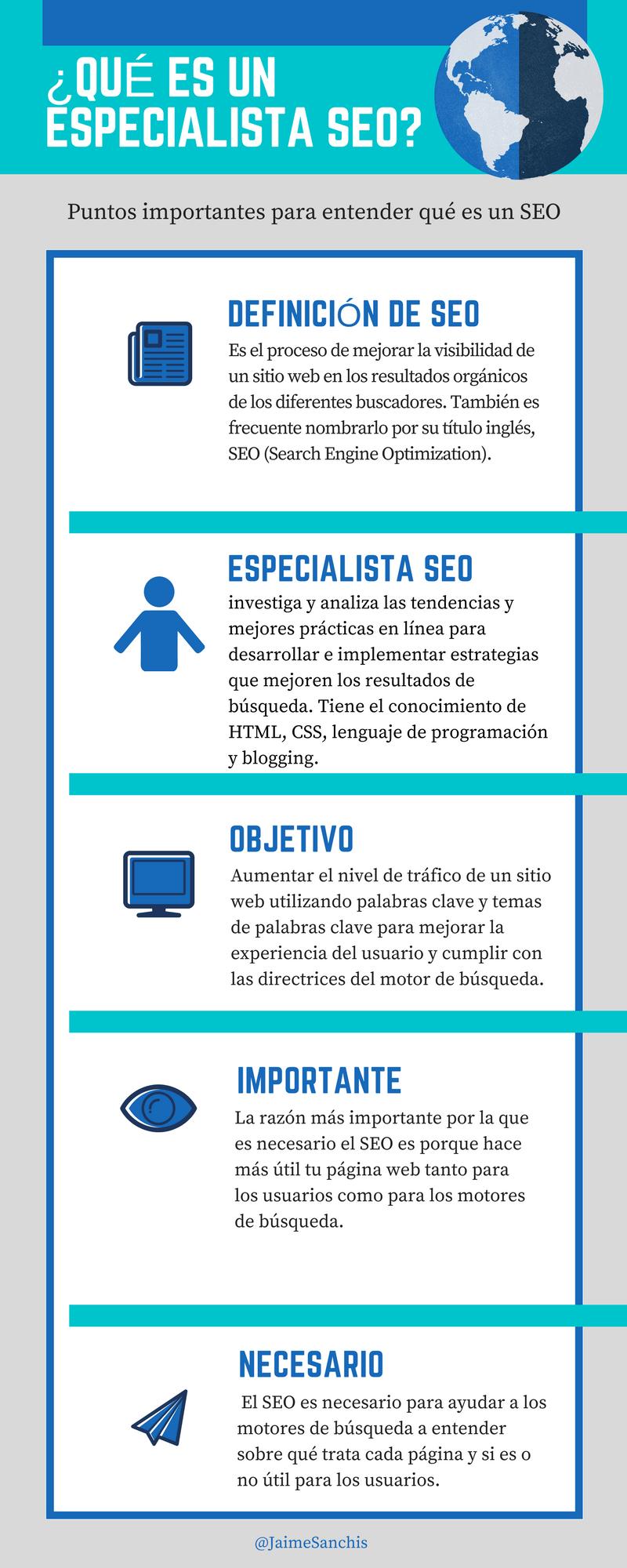 Infografía sobre SEO y Especialista en SEO
