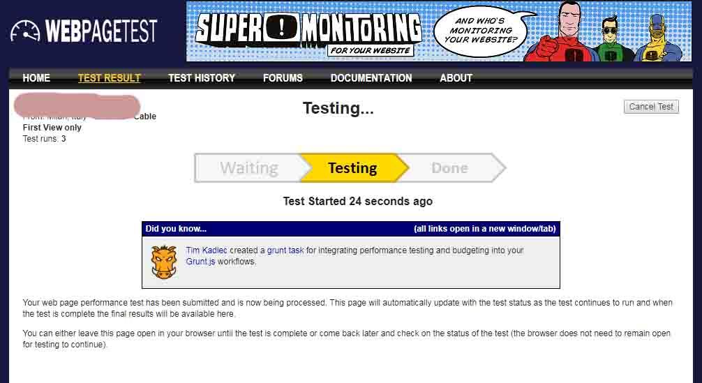 Testear la page de la web.